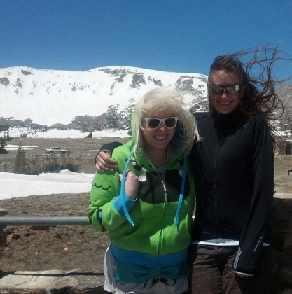 My BFF Kim and I at Libby Flats in the wind