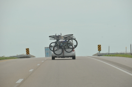 A car I saw in Nebraska... they had me beat on number of bikes, clearly