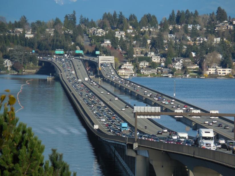 I-90 floating bridge across Lake Washington