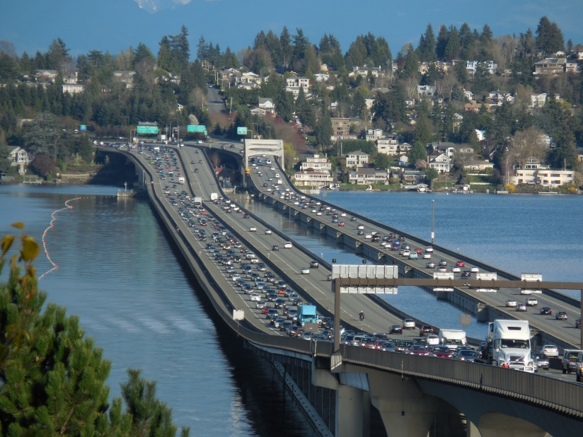 I-90 floating bridge across Lake Washington