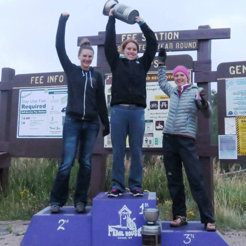 Laramie MTB Series Open Women podium for overall series points (Photo:  Dewey Gallegos)
